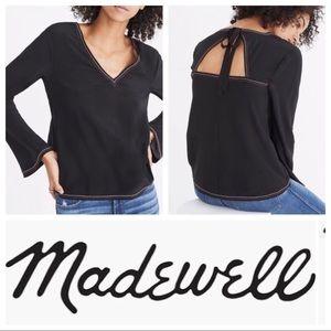 Madewell Silk Stitch Tie Back Top Black Sz L